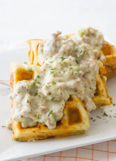Waffle Biscuits And Gravy Favesouthernrecipes Com