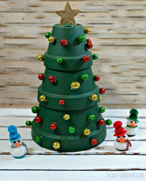 Painted Terracotta Christmas Tree