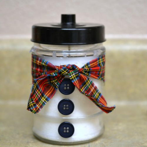 DIY Snowman Decorated Candle