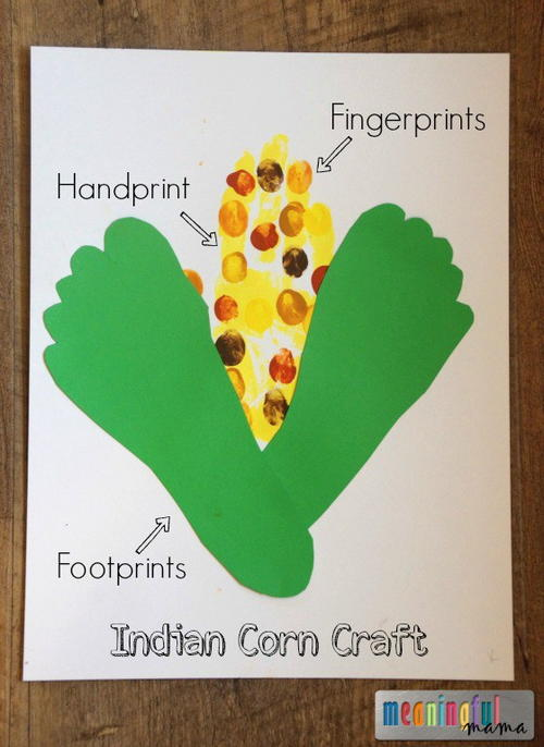 Indian corn thanksgiving handprint craft for Harvest crafts for kids