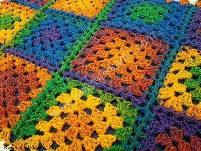Rainbow Square Afghan