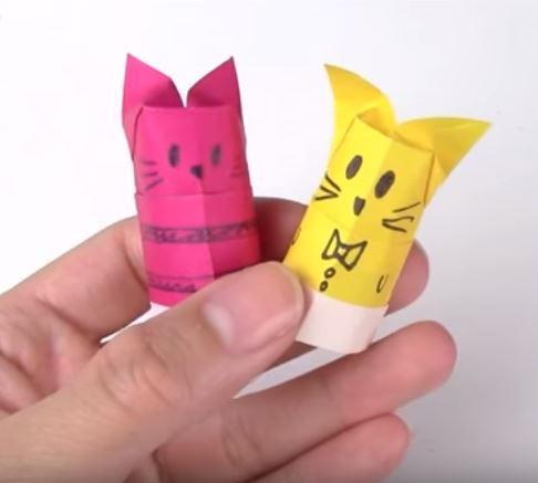 origami cat finger puppets allfreepapercraftscom