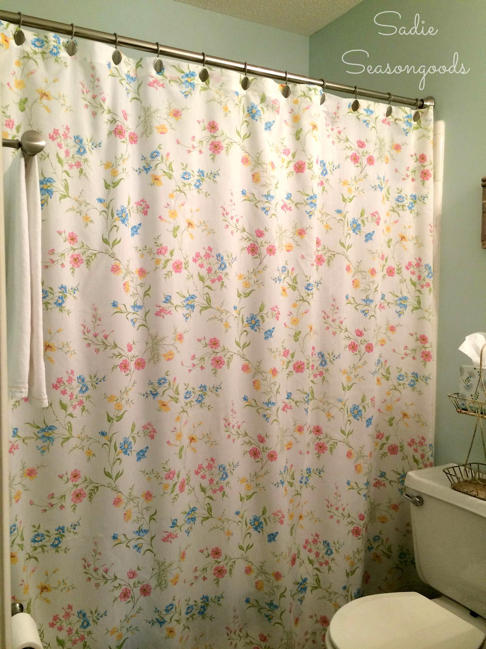 Vintage Sheet Shower Curtain Allfreesewing Com