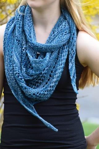 Knitting Pattern For Summer Scarf : Skinny Lacy Summer Scarf AllFreeKnitting.com