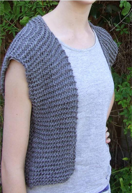 Knitting Pattern For Beginner : Moonstone Beginner Vest Pattern AllFreeKnitting.com