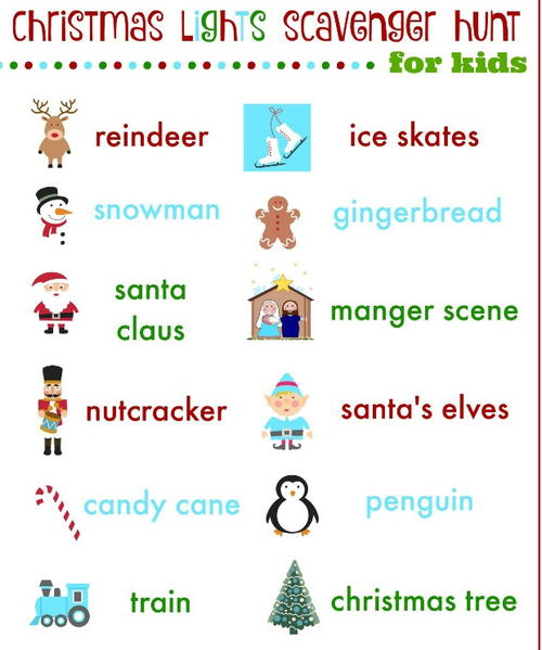 Christmas Scavenger Hunt Printables