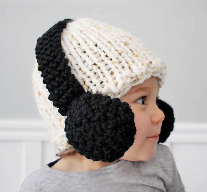 Beginner Hat Knitting Patterns : Headphones Baby Hat Pattern AllFreeKnitting.com