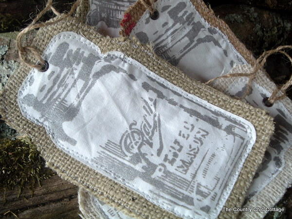 Rustic Burlap Jar Ornaments