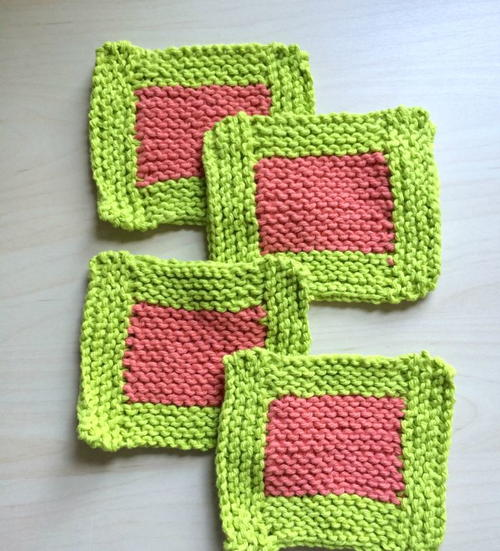 Free Knitting Patterns For Coasters : Watermelon Garter Stitch Coasters AllFreeKnitting.com