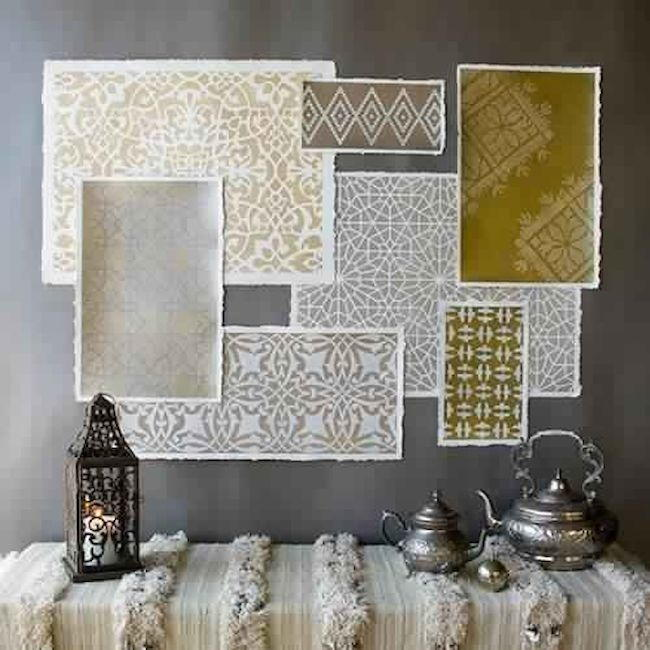 Metallic moroccan stencil decor for Paint templates for walls