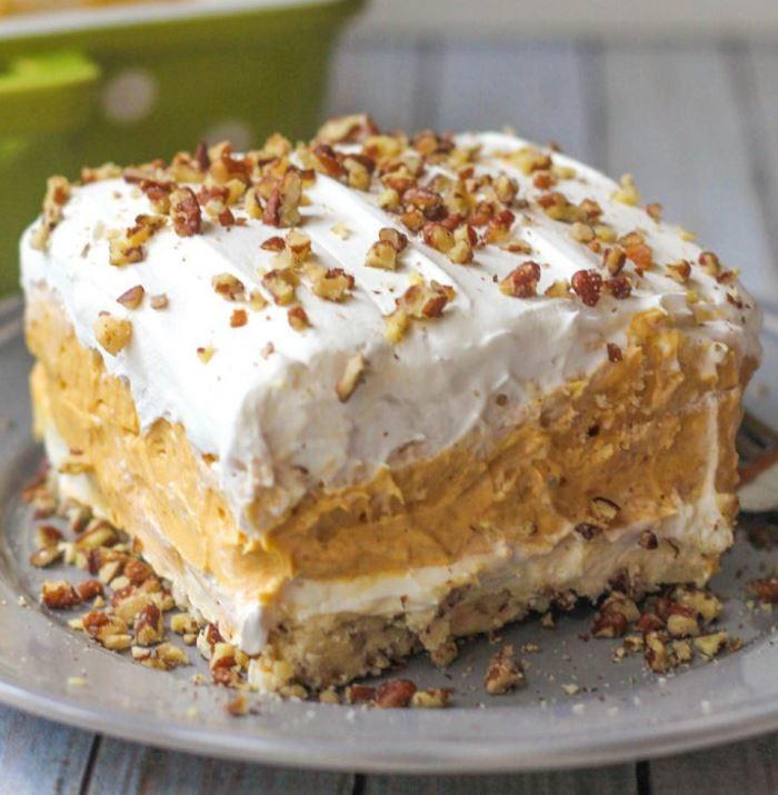 Pumpkin Pie Dessert Lasagna: Pumpkin Pudding Mix Dessert Lasagna