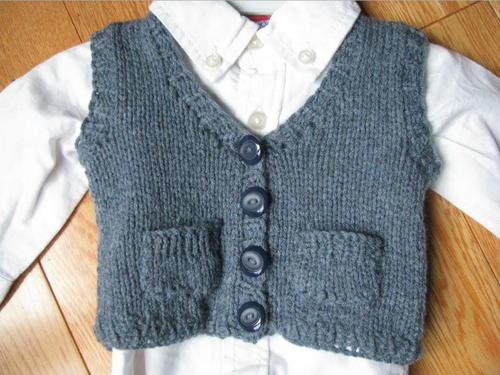Toddler Knitted Sweater Vest Pattern : Baby Grandpa Sweater Vest AllFreeKnitting.com