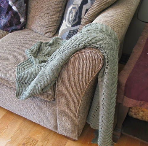 Knitting Patterns For Couch Throws : Sage Sofa Throw Pattern AllFreeKnitting.com