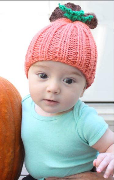 Easy Knitted Hat Patterns For Beginners : Beginner Pumpkin Baby Hat AllFreeKnitting.com