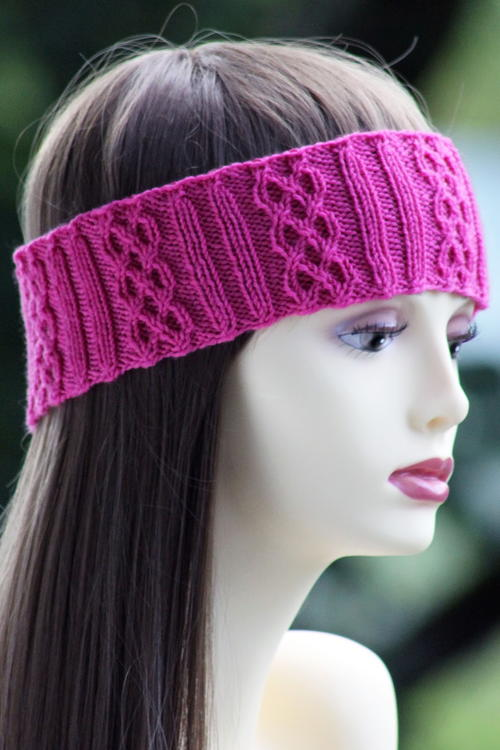 Knitting Pattern Ribbed Headband : Pink Cable Braid Headband AllFreeKnitting.com