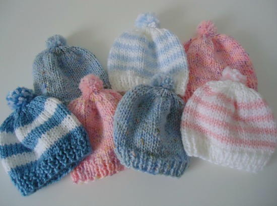 Knitted Infant Hat Patterns : Pom Pom Newborn Hat AllFreeKnitting.com