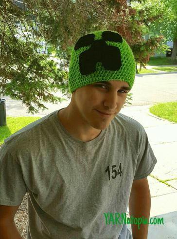 c7a1bd0e001 Minecraft-Inspired Creeper Crochet Hat
