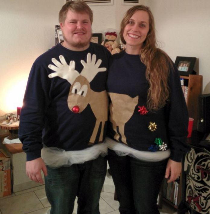 Reindeer Couples Ugly Sweater Idea Allfreechristmascrafts Com