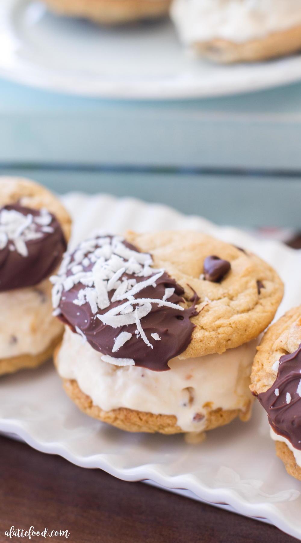Mocha Coconut Caramel Ice Cream Sandwiches | FaveSouthernRecipes.com