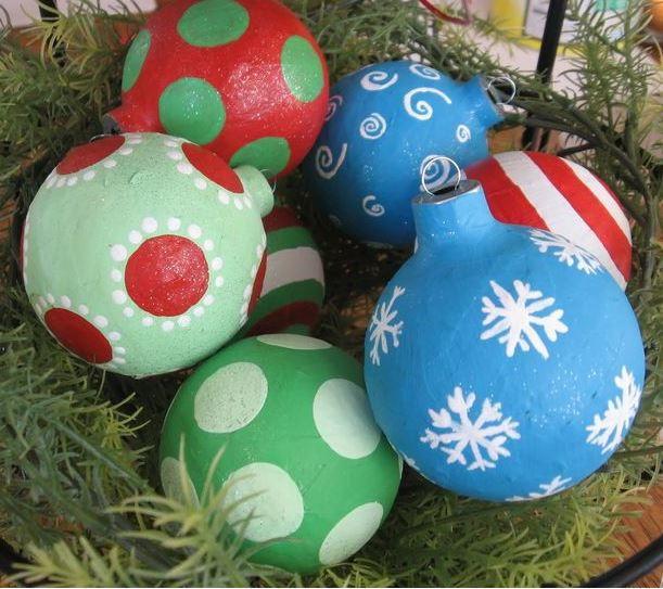 Paper mache ball ornaments for Paper mache christmas
