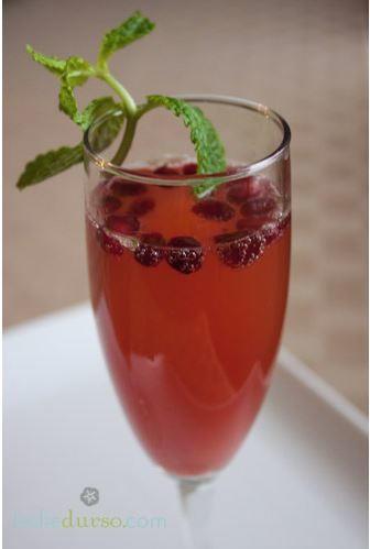 Pomegranate Mint Champagne Sparklers | TheBestDessertRecipes.com