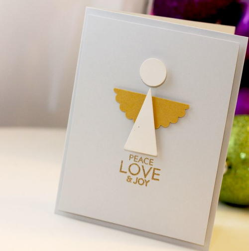 Modern angel diy christmas card for Easy diy christmas cards
