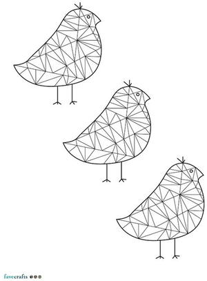 Geometric Sparrows Coloring Page