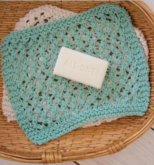 Free Knit Baby Washcloth Patterns : Seafoam Knit Washcloth Pattern AllFreeKnitting.com