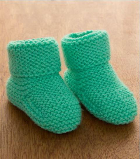 98d026673 Minty Garter Stitch Baby Booties