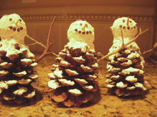 Pinecone Snowman Ornament AllFreeChristmasCrafts