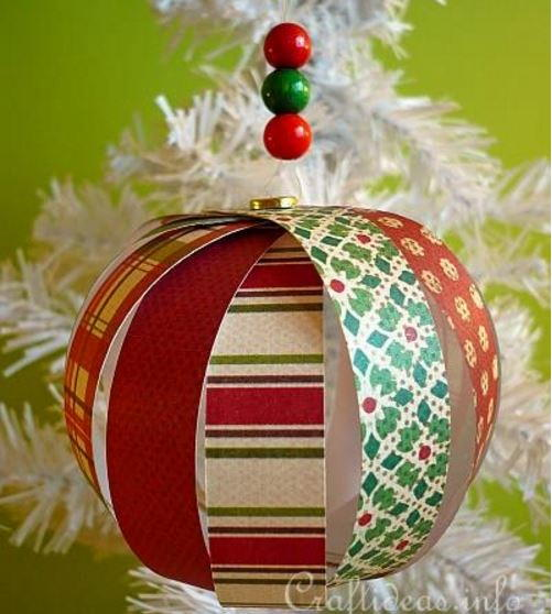 Paper Strip Sphere Christmas Ornament