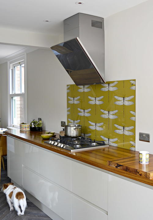 diy wallpapered kitchen backsplash