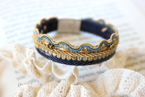 Denim Oriental Wrap Bracelet