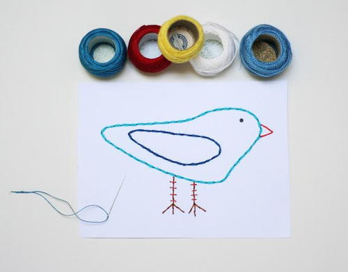 Embroidered designs diy greeting cards
