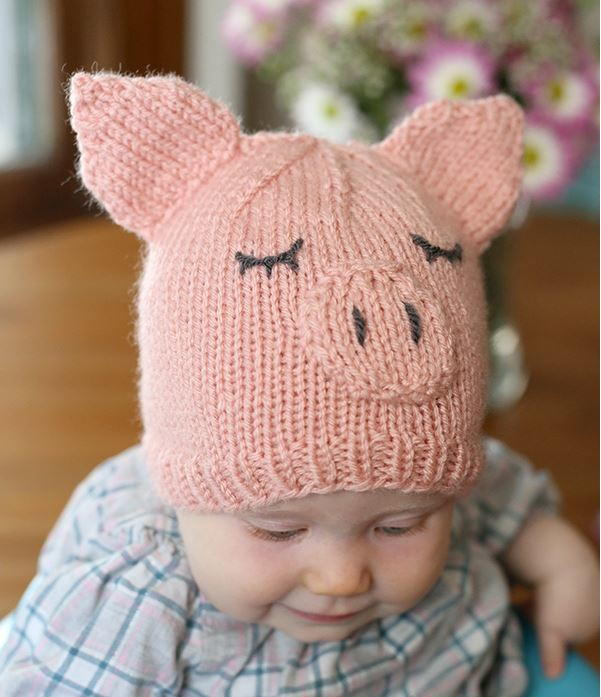 Knitted Baby Beanies Free Patterns : This Little Piggy Went Home Baby Hat AllFreeKnitting.com