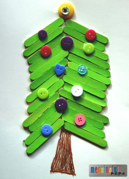 Popsicle stick christmas tree craft for kids for Christmas projects with popsicle sticks