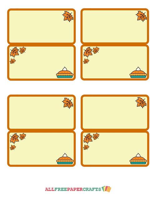 Allfreepapercrafts Com: Dessert First Thanksgiving Place Cards