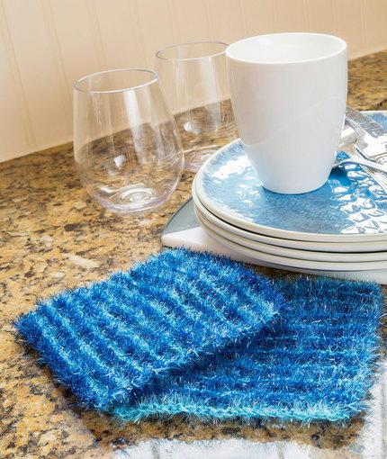 Knit Scrubbie Pattern : Striping Sparkle Scrubby AllFreeKnitting.com