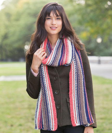 Knit Striped Scarf Pattern : Easy Knitting Patterns for Beginners AllFreeKnitting.com