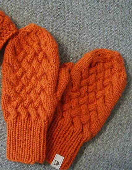 Mitten Patterns To Knit : Orange Cabled Knit Mittens Pattern AllFreeKnitting.com