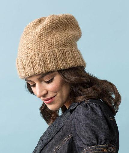 f33a81821b4 Camel Seed Stitch Slouchy Hat