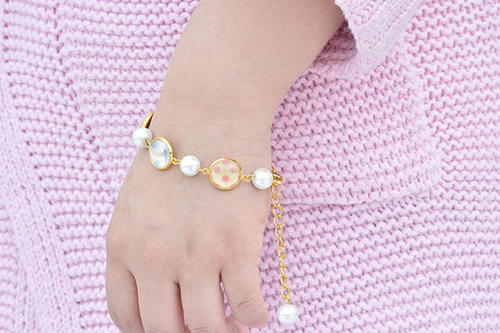 Pearls and Polka Dots Chain Bracelet