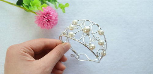 Whimsical Pearls and Wire Bracelet