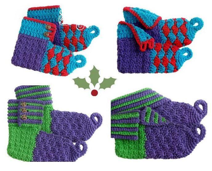 Merry Elf Crochet Booties AllFreeCrochet.com