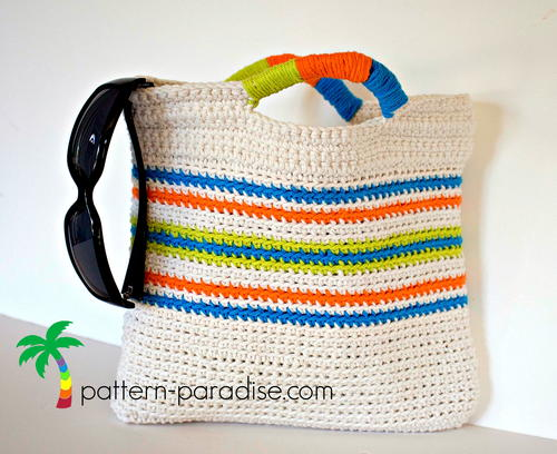 Crochet Grab Bag Pattern : Grab & Go Market / Beach Bag AllFreeCrochet.com
