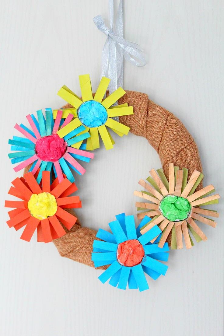 DIY Paper Flower Wreath AllFreeKidsCrafts