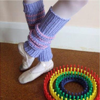 Leg Warmers Knitting Pattern In The Round : Loom Knit Leg Warmers AllFreeKnitting.com