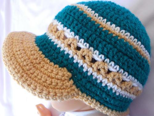 Crochet Baby Hat Pattern With Brim : Crochet Baby Brim Hat FaveCrafts.com