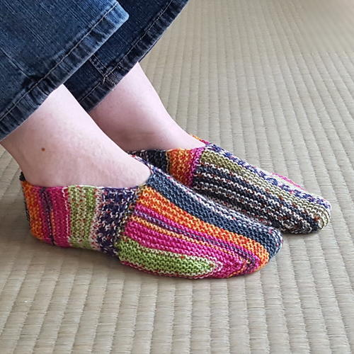 Free Knitting Pattern For Slipper Socks : Rainbow Striped Knit Slipper Pattern AllFreeKnitting.com
