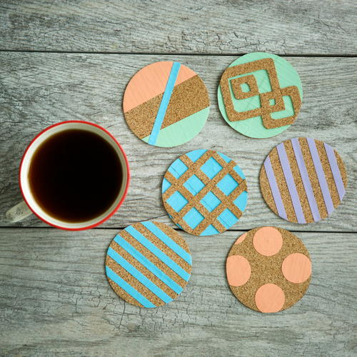 Duck tape cork diy coasters for Cork coasters for crafts